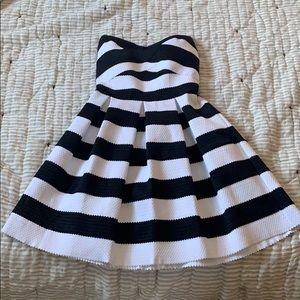 Strapless express black and white stripe dress.